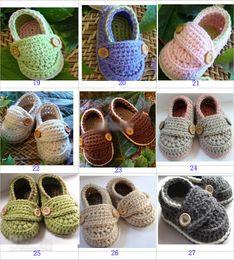 Wholesale Crochet Baby Booties Button - popular Baby boy crochet BOOTIES shoes shoe shoes,Handmade crochet button shoes sandals prewalker for boys  infants toddlers(32pcs=16pairs)