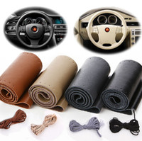 Wholesale Genuine Leathers - Real Cowhide Leather Steering Wheel Cover With Needles & Thread, DIY ,black Hand Sewing Genuine leathers wrap free shippin