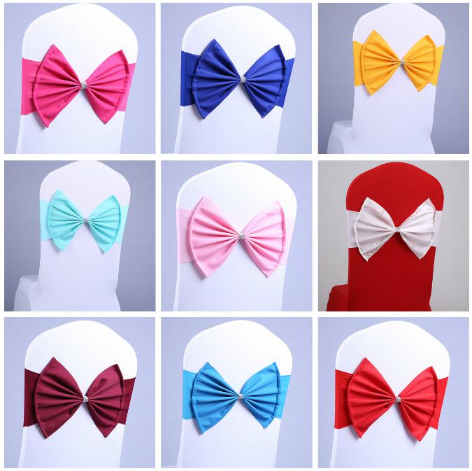 Free EMS DHL No need to Tie the Knot Elastic Bowknot Wedding Chair Cover Sashes Sash Party Banquet Decoration Decor Bow