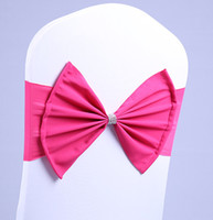 Wholesale Ems Bow Tie - Free EMS DHL 100pcs (No need to Tie the Knot) Elastic Bowknot Wedding Chair Cover Sashes Sash Party Banquet Decoration Decor Bow