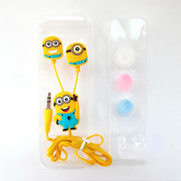 Wholesale Hot Cartoon Mp3 - Hot 3D Cartoon Despicable Me 3.5mm Headsets Headphone Universal Earphone For iphone 4S 5S Samsung S5 PC MP3 MP4