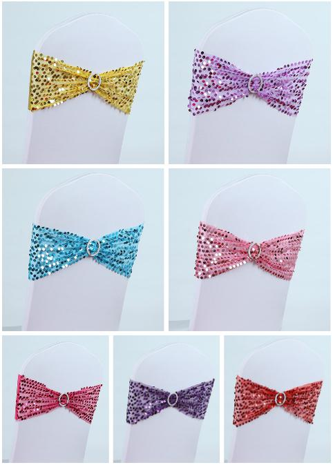 Free EMS DHL Round Sequins Elastic Wedding Chair Cover Sashes Sash Party Banquet Decoration Decor Bow Colours