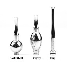 Wholesale Drip Tip Mouth Piece Ego - Hot selling Drip Tip rugby basketball long 510 ball style SS matal Fit For EGO 510 Atomizers Electronic cig Mouth piece e-cig