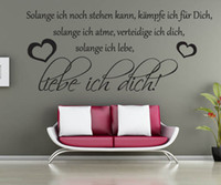 Wholesale German Wall - Free Shipping German Liebe Ich Dich Quote Wall Decals Love Removable Vinyl Wall Stickers