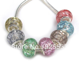 Wholesale Big Hole Acrylic Beads Bracelet - Free Shipping 100pcs Wholesale Fashion 925 Core Big Hole Acrylic Ice Crack Effect Beads for Eurpean Bracelet jewelry DIY
