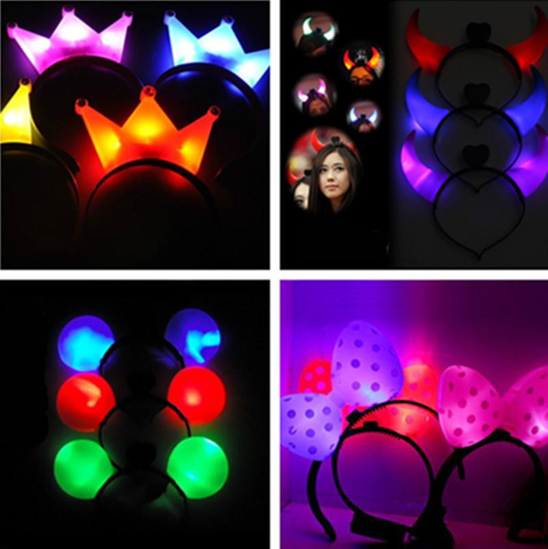 LED Flash Light Emitting Hairpin Bow Fasce capelli Horn Flash LED Clip di capelli Mickey Bands Crown Hair Bands Flash Hairpin Headband Halloween LED