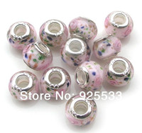 Wholesale Wholesale European Charm Braclet Beads - Free Shipping 40pcs 9x14mm 925 silver core Big Hole Murano Light Pink Glass Beads fit European Jewelry Braclet Charms DIY