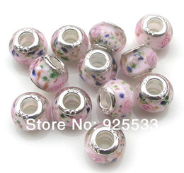 Wholesale 925 Silver Core Glass Beads - Free Shipping 40pcs 9x14mm 925 silver core Big Hole Murano Light Pink Glass Beads fit European Jewelry Braclet Charms DIY