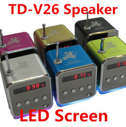 Wholesale Wholesale Hifi Amplifier - TD-V26 Mini Portable Micro SD TF Card USB Disk Speaker MP3 Music Player Amplifier Stereo Speakers With FM Radio Digital LED Display