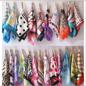 top popular Spring And Autumn Female Satin Scarf Square Scarves Printed 50*50cm 2020