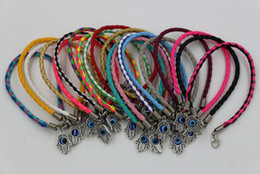 Wholesale Evil Eyes Charms - Hot sell ! 60pcs Leatheroid Braided Fatima Hand Rotation Evil Eye Charms Bracelets 57 - color