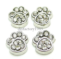 """Wholesale Christmas Accessories For Dogs - 20pcs lot """"Dog Footprint"""" floating charms for necklace & bracelets fashion charms accessories glass Locket charmsLSFC095*20"""