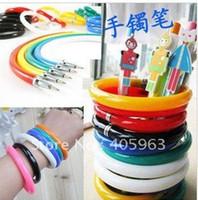 Wholesale Pen Bangles - Wholesale-OP-Free shipping Novelty Flexible bangle ball pen dropship fashion ball pen kids stationary