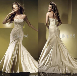 pleated trumpet wedding gowns taffeta 2019 - Best-selling 2014 Unique design Glamorous New Applique Beaded Mermaid Wedding Dresses Pleated Ruffles Covered Button Bri