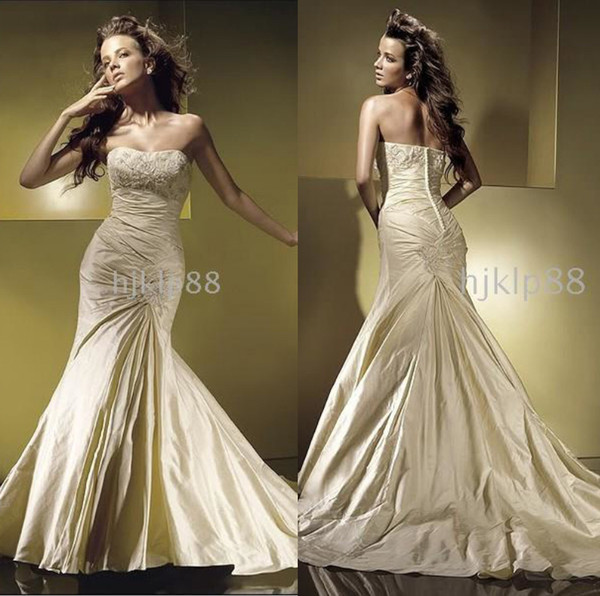 top popular Best-selling 2014 Unique design Glamorous New Applique Beaded Mermaid Wedding Dresses Pleated Ruffles Covered Button Bridal Gowns All Size 2019
