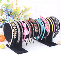 Wholesale Large Jewelry Stands - Large Black Rose Velvet Headband Buckle Rack Hoop Frame Head Flower Hair Bands Holder Headdress Jewelry Display Stand 36cm