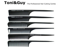 Wholesale Comb Hair Carbon - Toni&Guy Carbon Anti-Static Metal tip graphite rat tail Combs Professional Detangling Hair Cutting Comb HairBrushes