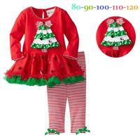 Wholesale red tutu leggings for sale - Christmas Children clothes Autumn winter spring girl long sleeve dress Leopard tutu dress Leopard leggings suit set pieces p l