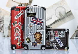 Wholesale Diy Iphone 4s Casing - Fashion Travel Luggage Carrier Bag Case Trunk Suitcase TPU PC case Cover For iPhone 4 4S 5 5S With Retail Package Free DIY Stickers