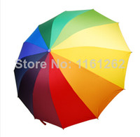 Wholesale Rainbow Straight Umbrella - Wholesale-OP-Free Shipping Top Quality 24k Color Rainbow Fashion Long Handle Straight Sun Rain triple folding umbrella Manual Paraso