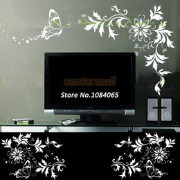 Wholesale Vine Wall Vinyl - White Flower Vine PVC Removable TV Background Wall Stickers Room Stickers Mural 55*40CM 8662