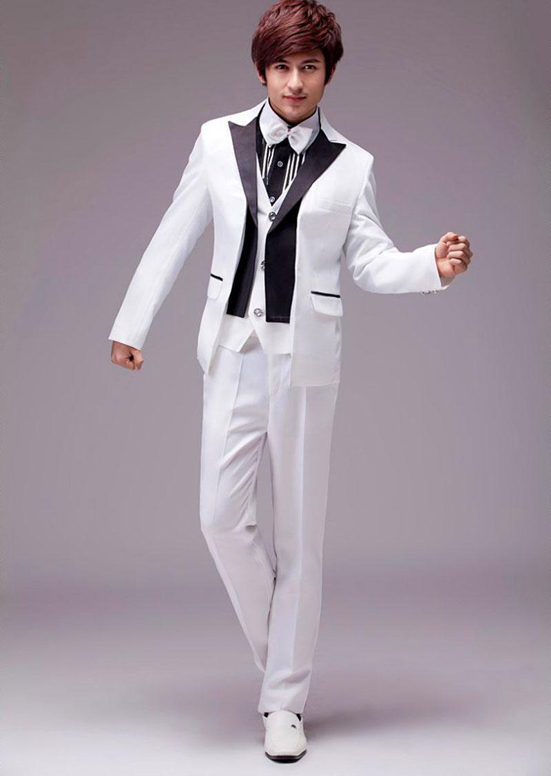 2018 Hot White Tuxedo Jacket Black Lapel Wedding Dresses