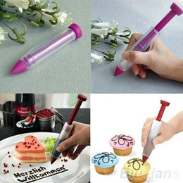 Wholesale Silicone Cake Decorating Pen - Silicone Plate Pen Cake Cookie Pastry Cream Chocolate Icing Decorating Syringe Tools