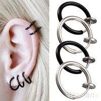 Wholesale Goth Hoop Earrings - Clip on Hoop Boby Nose Lip Ear Piercing round Earrings Punk Goth Septum for Men