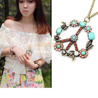 Wholesale Colorful Peace Signs - 2014 Antique jewelry Vintage style Peace Sign Inserting Colorful Beads Necklace Mix Color B003 4561