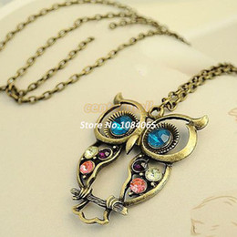 Wholesale Beaded Owl Necklaces - 2014 New Fashion Hot Selling Fashion lovely vintage Colorful Cute OWL pendant necklace b014 3952