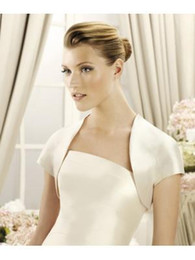 Wholesale Sleeve Satin Bridal Bolero Ivory - Simple Style Short Sleeve Ivory Satin Wedding Bridal Bolero Jackets Short Sleeve Mother Of The Bridal Modest Jacket Wraps Cheap High Quality