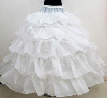 مبيعات ساخنة جديدة 4 الأطواق تنورات الزفاف الكرة ثوب ثوب الزفاف المتتالية الكشكشة النسيج تحتية اكسسوارات الزفاف الأبيض للعروس