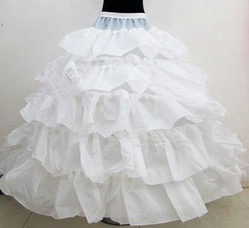 Nuove vendite calde 4 Hoops Sottoveste da sposa abito da ballo Abito da sposa Increspature a cascata Tessuto Sottogonna Accessori da sposa bianchi la sposa