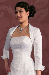 Wholesale Wedding Sleeves Accessories - 2014 Hot Design High Quality 3 4 Sleeve Bridal Jackets for Wedding Custom Made Ruched Taffeta Ladies Jackets Bridal Accessories