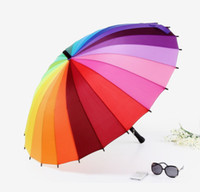 Wholesale Rainbow Straight Umbrella - Wholesale-OP-2014 New Free Shipping Top Quality 24k Color Rainbow Fashion Long Handle Straight Sun Rain Stick Umbrella
