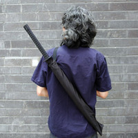 Wholesale Japanese Samurai Swords Katana - Wholesale-OP-Japanese Samurai Man Sword Umbrella Katana fibers long-handled Umbrella Cool Gift Black Novelty