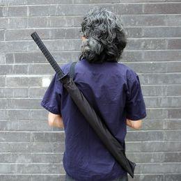 Wholesale Sword Katana Samurai - Wholesale-OP-Japanese Samurai Man Sword Umbrella Katana fibers long-handled Umbrella Cool Gift Black Novelty