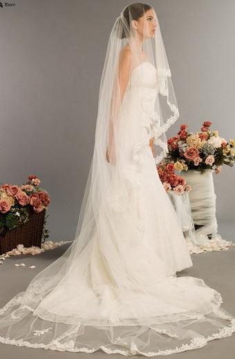 Neue Ankunfts-Hochzeits-Zusätze geben Verschiffen 2.5 Meter 1 Schicht-lange Appliques Rand-Elfenbein-weiße Spitze-Brautschleier-Art und Weise frei