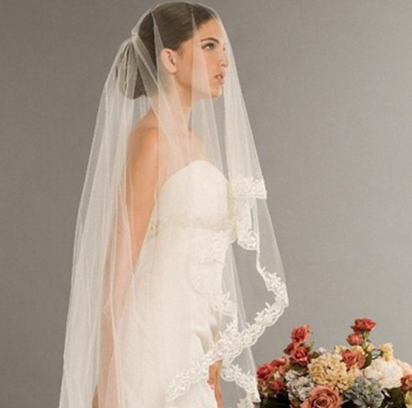 2014 New Arrival Wedding Accessories Free Shipping 2.5 Meters 1 Layer Long Appliques Edge Ivory White Lace Bridal Veils W20140091 Fashion