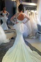 Wholesale Peplum Wedding Dresses - Free shipping White Chiffon appliques Floor length Cathedral Train Mermaid Long Sleeves Peplum Sheer Open back Backless Wedding Dresses