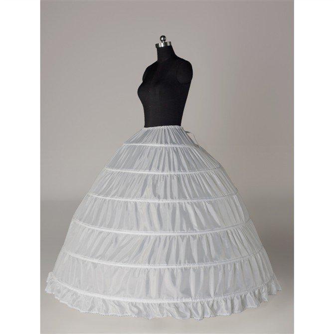 2019 Hot Sales I lager 6 Hoops Bridal Petticoats för Ball Gown Bröllopsklänning Cascading Ruffles Tyg Underkirt Midja Justerbar