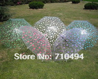 Wholesale Clear Umbrella Printing - Wholesale-OP-Free DHL shipping polka dots clear umbrella choice of 5 dots colors, polka dots promotion umbrella, logo print acceptable