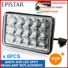 "Wholesale Headlight Plugs - 6PCS 7"" 45W 15-LED*(3W Epistar) Work Light Driving Off-Road SUV ATV 4WD 4x4 9-32V Spot   Flood Beam 4500lm Replace Headlight Truck H4 Plug"