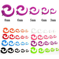 Atacado-op-10pcs FALSIFICADO espiral Taper sólido transparente Illusion Acrílico Stud Ear Cheater plug Tunnel Flesh jóia do corpo