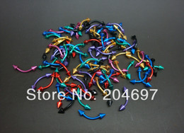 Wholesale body jewelry spike - Wholesale-OP-Mix 50pcs 1.2*8*3mm Plated Electrophoresis Colors Stainless Steel Curved Barbell with Spikes Eyebrow Rings Body Piercing Jewelr