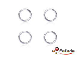 Wholesale 16 Gauge Lip Piercing - Wholesale-OP-4 pcs 16 Gauge 16G Segment Lip Ring Hoop Nose Eyebrow Piercing Silver Titanium 8mm