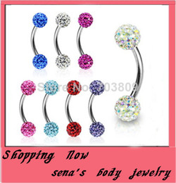 Wholesale Body Piercing Mix Colors - Wholesale-OP-body jewelry Free shippingE10wholesales 30pcs Mix 10 Colors Piercing Jewelry Shamballa Disco Ball eyebrow jewelry eyebrow ring