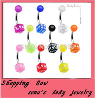 Wholesale Dice Eyebrow - Wholesale-OP-B16 Navel Belly Bar Dice belly ring Body piercing Jewelry 7 color in stock100pcs lot Fancy Belly Button ring