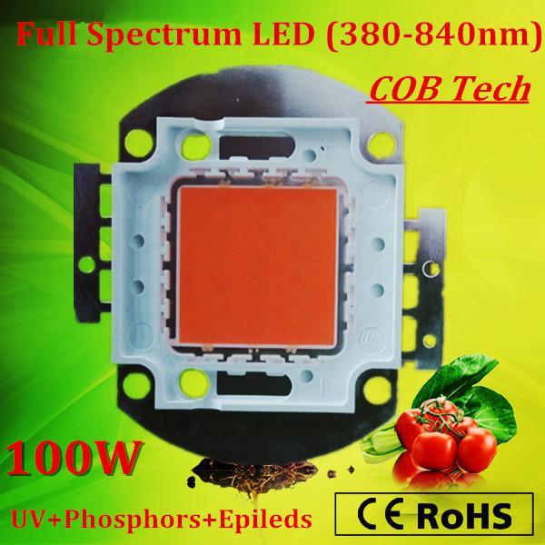 2019 высокая интенсивность PAR полный спектр 380-840nm 100W Bridgelux водить вырастите свет чип для растений высева / растущего цветения 2 года гарантии /