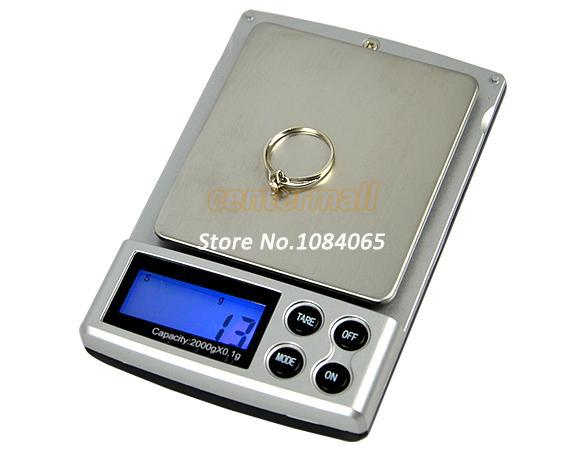 Wholesale-OP-Holiday Sale 2000g x 0.1g Pocket Electronic Digital Jewelry Scales Weighing Kitchen Scales Balance 6773